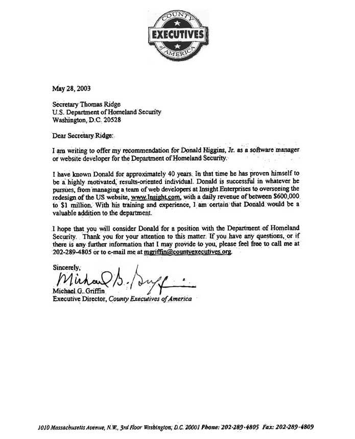 secretary thomas ridge reference for donald higgins jr - References On A Resume